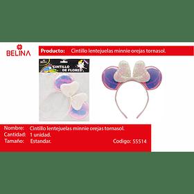Cintillo orejas con lentejuelas rosa/tornasol 22cm