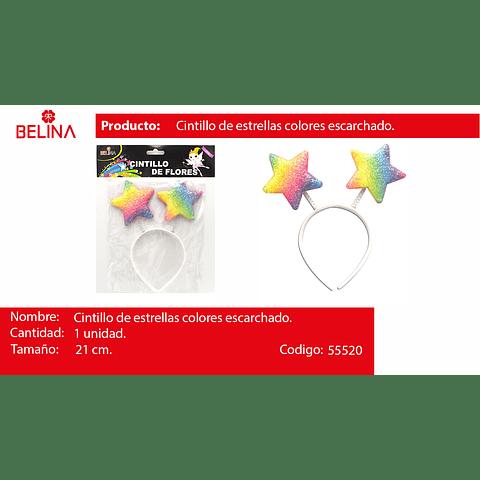 Cintillo estrellas multicolor 21cm 1pcs