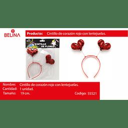 Cintillo con corazones rojos 19cm 1pcs