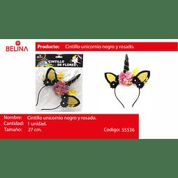 Cintillo unicornio negro/oro 27*18cm 1pcs