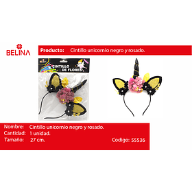 Cintillo unicornio negro/oro 27x18cm 1pcs