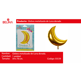 Globo Metalico Luna Oro 59x78cm