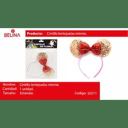 Cintillo orejas con lentejuelas oro rosa/rojo 22cm