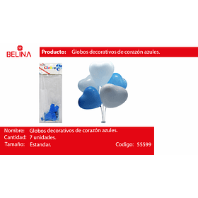 Set de palitos para globos azul 7pcs