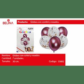 "Set de globos cromados con confetti 7pcs 12"""