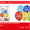 Globo de latex feliz cumpleaños colores 6pcs