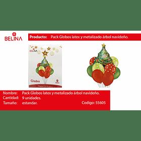 Set de globos de navidad arbolito 9pcs