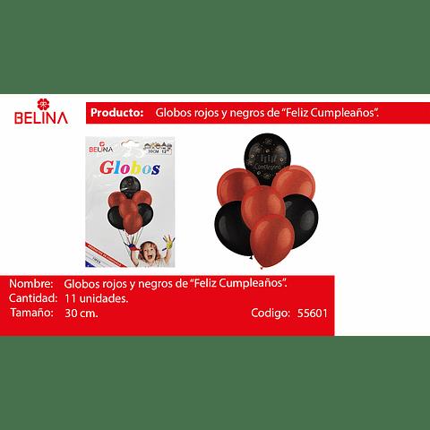 """Sets de globo negro/rojo latex 30cm 12"""" 11pcs"""