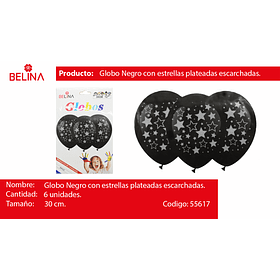 "Globo negro con estrellas plata 12"""