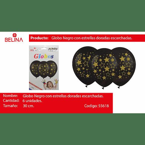 Globos negro con estrellas oro 12 pulgadas