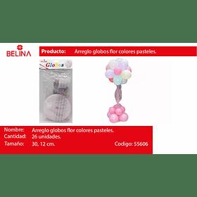 Set de globos pasteles con base y tul 26pcs