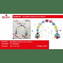 1 Set De Globos Para Arcos Multicolor 72pcs