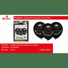 """Globo de latex negro graduacion 6pcs 12"""" 30cm"""