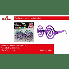 Lentes metalico espiral 3pcs