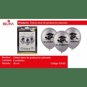 """Globo de latex gris graduacion 6pcs 12"""" 30cm"""