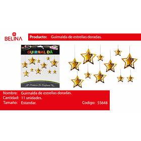 Guirnalda de estrella dorado 11pcs