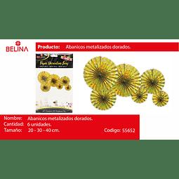SETS DE ABANICOS DORADO TORNASOL 6PCS 20CM/2 30CM/2 40CM/2
