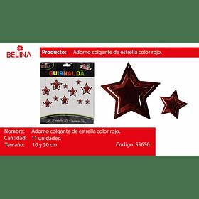 Guirnalda estrella burdeo 11pcs