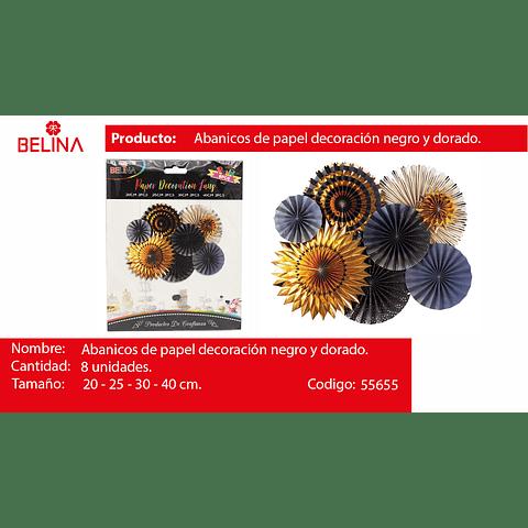 Sets De Abanicos Negro/Oro 8pcs 20cm/2pcs 25cm/2pcs 30cm/2pc