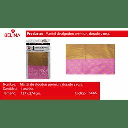 """Mantel de algodon rosado con dorado 54""""*108 137cm*274cm"""