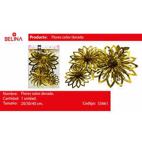 Flores metalicas doradas 20/30/40cm 3pcs