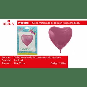 """Globo Metalico Corazon Rosado 31""""78x78cm"""