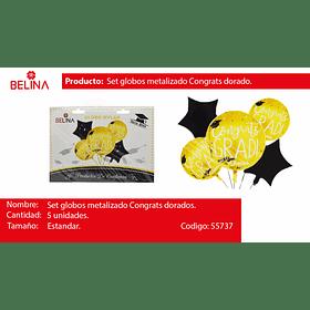 Set de globos metalizados graduacion negro/oro 5pcs