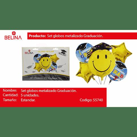 Set de globos metalizados graduacion carita feliz 5pcs