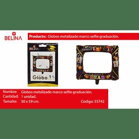 Globo metalizado marco de selfies negro graduacion 50*59cm