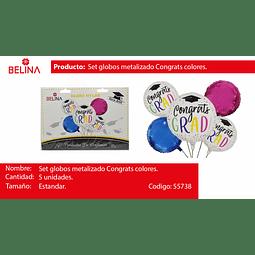 Set de globos metalizados graduacion colores