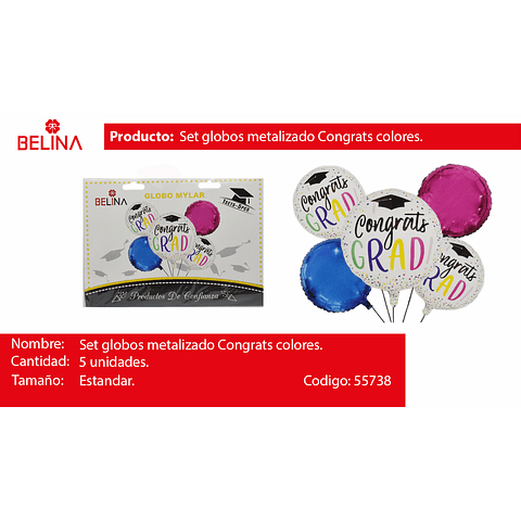 Set de globos metalizados graduacion colores
