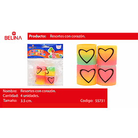 Sorpresa resortes corazon/colores/pastel 4pcs