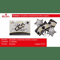 Set de globos metalizados graduacion negro/plata 5pcs