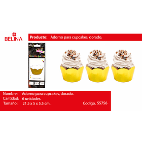 Adornos para cupcake dorado 6pcs 21.5*5*5.5cm
