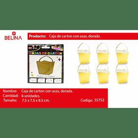Cajas de carton con asa dorada 6pcs 7.5*7.5*8.5cm