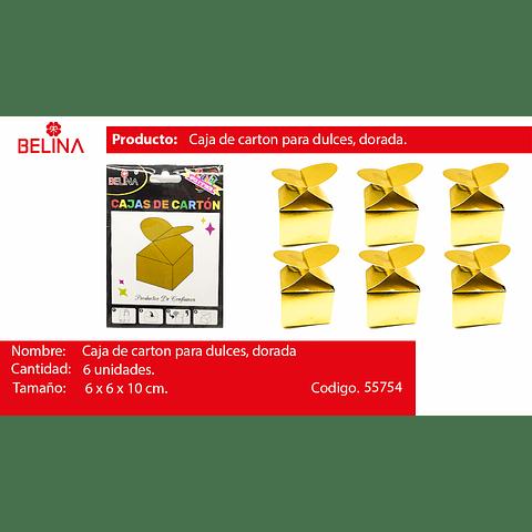 Cajas Para Dulces Dorada Peq. 6pcs 6x6x10cm