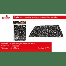 Papel de regalo negro/estrellas plata 4pcs 50*70cm
