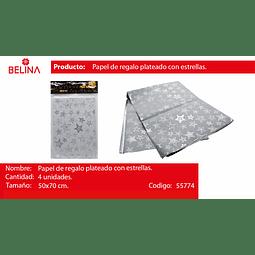 Papel de regalo blanco/estrellas plata 4pcs 50*70cm