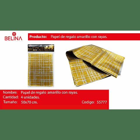 Papel De Regalo Oro/Plata Brillante 4pcs 50x70cm
