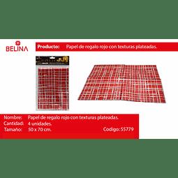 PAPEL DE REGALO ROJO/PLATA BRILLANTE 4PCS 50*70CM