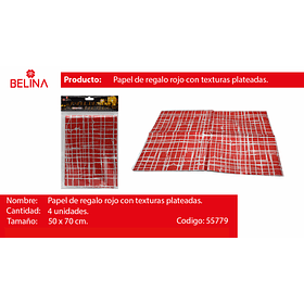 Papel de regalo rojo/plata brillante 4pcs 50*70cm