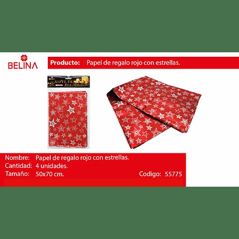 Papel de regalo rojo con estrellas plata 4pcs 50*70cm