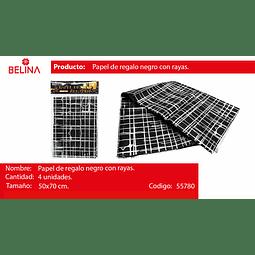 PAPEL DE REGALO NEGRO/LINEAS PLATA 4PCS 50*70CM