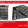 Papel de regalo negro/lineas plata 4pcs 50x70cm