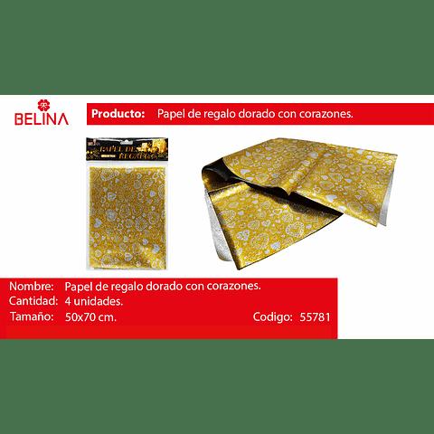 Papel de regalo dorado con corazones plata 4pcs 50*70cm