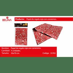 Papel de regalo rojo con corazones plata 4pcs 50*70cm