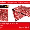 Papel De Regalo Rojo Con Corazones Plata 4pcs 50x70cm