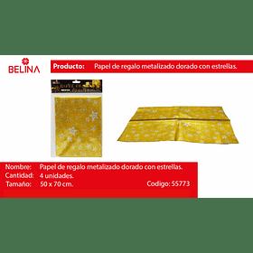 Papel De Regalo Dorado/Estrellas Plata 4pcs 50x70cm