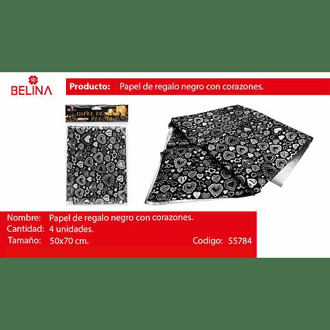 Papel De Regalo Negro Con Corazones Plata 4pcs 50x70cm