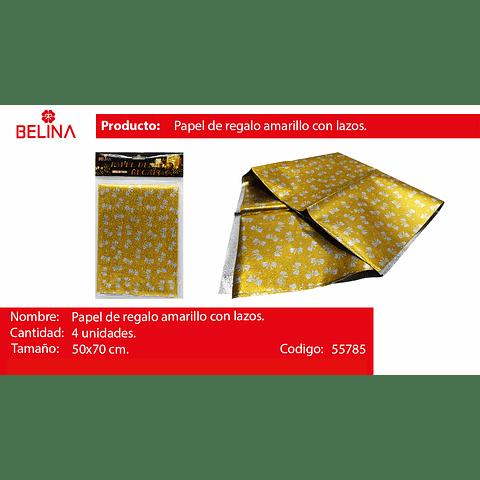 Papel de regalo dorado/lazos plata 4pcs 50*70cm